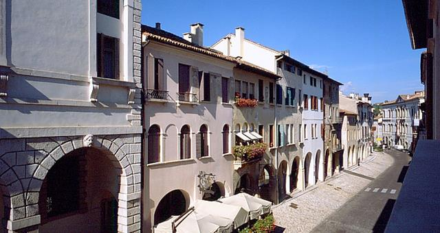 The view of the beautiful Via XX Settembre and our hotel situated in a central position in the town of Conegliano