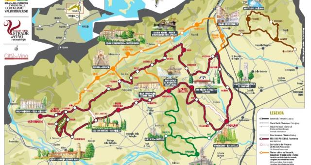 Map of the Prosecco wine route, between Conegliano and Valdobbiadene